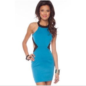 Turquoise / Teal & Black Cutout Dress